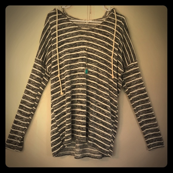 Jodiel Tops - CUTE GREY AND WHITE STRIPED HOODIE M, NWT